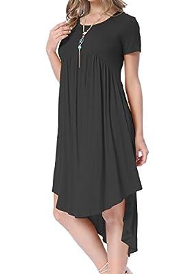 Levaca womens Short Sleeve Hi Low Draped Swing Loose Casual Flared Midi Dress
