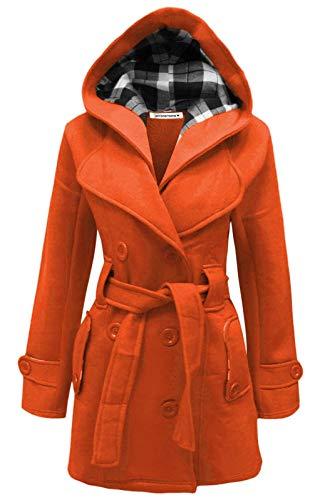 4XL Janisramone Orange tailles hiver S manteau capuche Femmes YpfqFYA