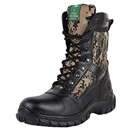 Para Commando Mens Black Genuine Leather NCC Military Army Boot Shoes with Steel Toe