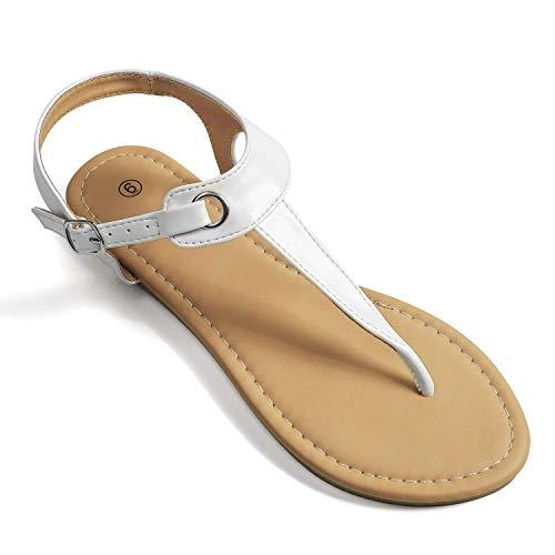 Soles & Souls Flat T-Strap Thong Sandal for Women White 095
