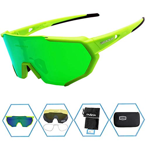 GIEADUN Sports Sunglasses Polarized UV400 Protection Cycling Glasses with 3 Interchangeable Lenses for Cycling, Baseball,Fishing, Ski Running,Golf (Green-1) (Best Lens For Baseball)