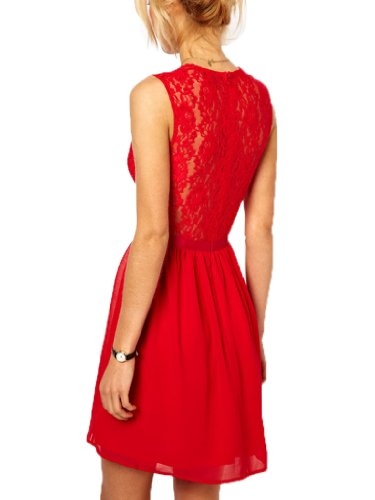 ReliBeauty Sexy Lady Floral Lace A-line with Belt Sleeveless Dress (Small, Red)