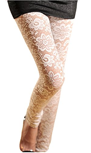V28® Womens Stretchy Floral Lace Capri Leggings Tights (US: 8/10, Long-White)