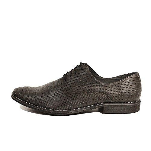 Modello Giustino - 41 EU - Cuero Italiano Hecho A Mano Hombre Piel Gris Zapatos Vestir Oxfords - Cuero Cuero Repujado - Encaje 4MDLNL33Ym
