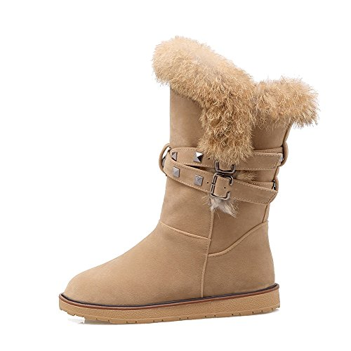 Toe Low Solid Heels Allhqfashion Closed Imitated Top Round Low Boots Women's Suede Apricot YwxRSqtp