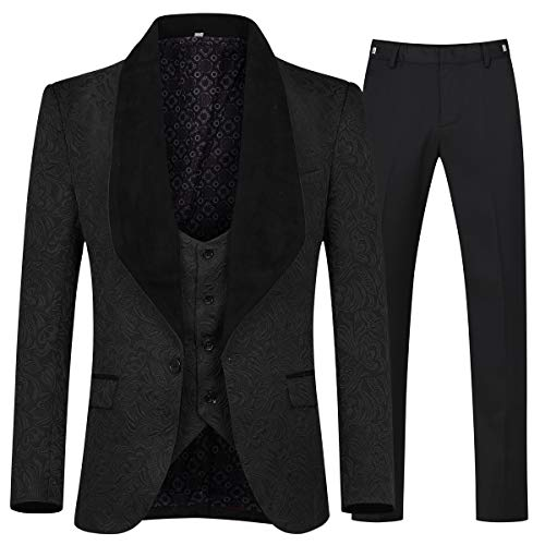 YFFUSHI Men's 3 Piece Suit Slim Fit Jacquard Tuxedo One Button Shawl Collar Jacket Vest & Trousers Black