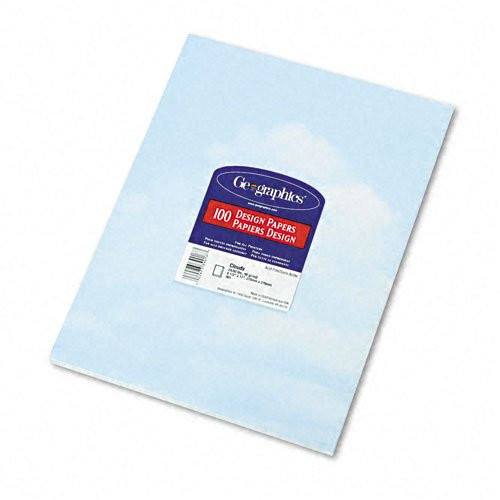 Geographics Design Paper, Clouds, 24 lb, 8.5 x 11 Inches, 100 Sheets Per Pack (39016)