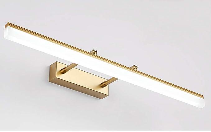 Dorado aplique LED para espejo de baño rectangular Ángulo de 180 Ajuste Lámpara de espejo télescopable (acero inoxidable y acrílico IP44 [clase ...