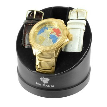 Amazon real diamond bezel world map globe face metal band gold real diamond bezel world map globe face metal band gold finish ice mania watch gumiabroncs Gallery
