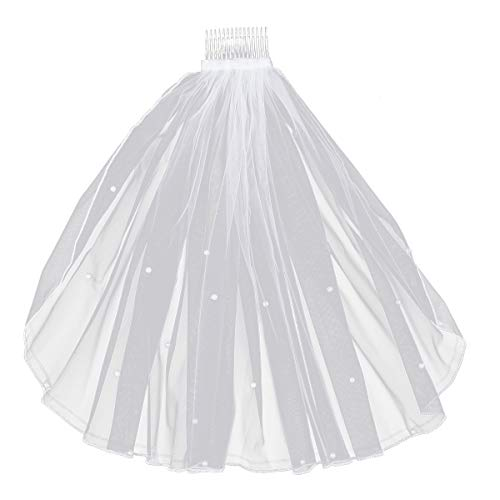 Frcolor Flower Girl Veil Lace Pearl Veils with Hair Comb Wedding Hair Accessories for Children Girl (White)