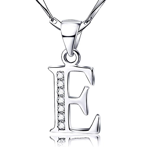 925 Sterling Silver Letter E with Swarovski Elements Pendant necklace