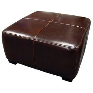 Amazon Com Full Leather Square Cocktail Ottoman Dark