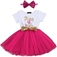 Baby Girl 1st/2nd Birthday Tutu Dress Sequins Headband Cake Smash Party Outfit