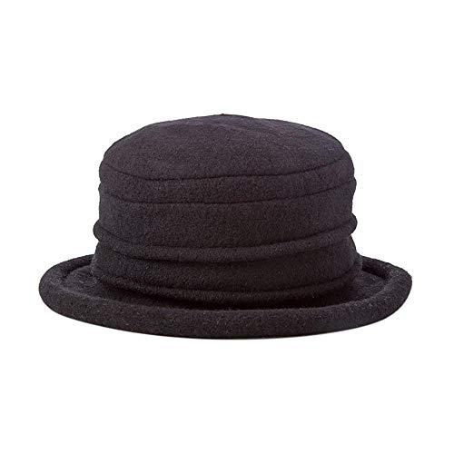 Scala Collezione Women's Boiled 100% Wool Cloche Hat, Black, One ()