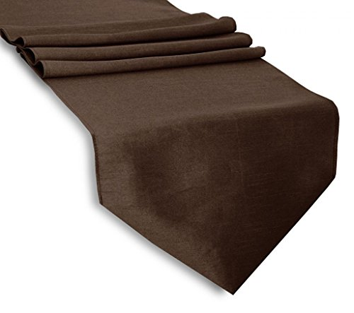 Creative 13'x 36' Classic Solid Table Top Runner - Brown