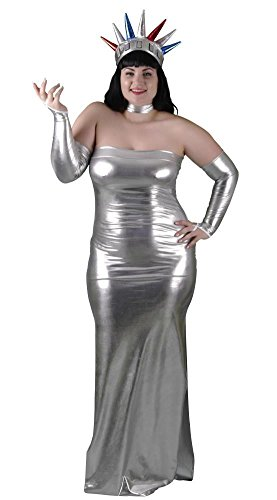 [Delicate Illusions Plus Size Statue of Liberty Womens Halloween Costume 4X (20-22) Silver] (Adult Lady Liberty Plus Size Costumes)