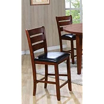 Superbe ACME 00682 Set Of 2 Urbana Counter Height Chair, Cherry Finish, 24 Inch