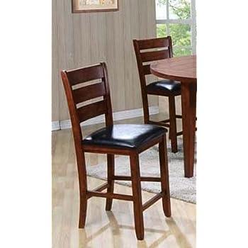acme set of 2 urbana counter height chair cherry finish 24inch