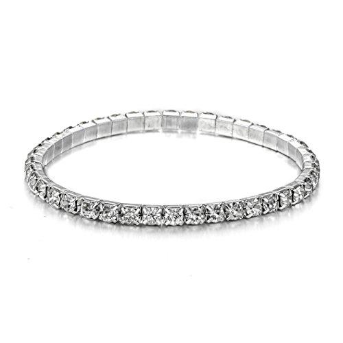 JEWMAY Yumei Jewelry 1 Strand Rhinestone Stretch Bracelet Wedding Sparkling Bridal Bangle Anklet