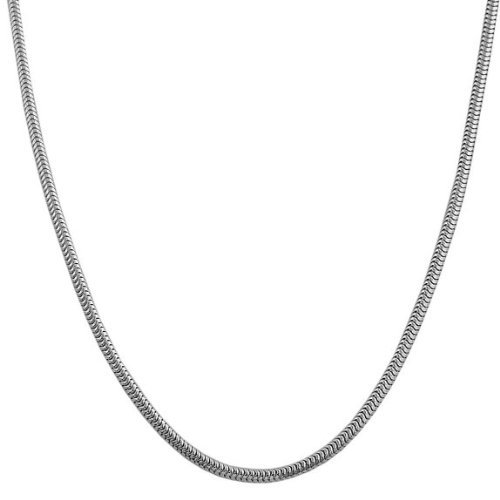 Cobra Gold Chain (Lovely 18 Inch Silver Serpentine Snake Cobra Necklace Chain Perfect Birthday Gift Jewelry for Girls Women)