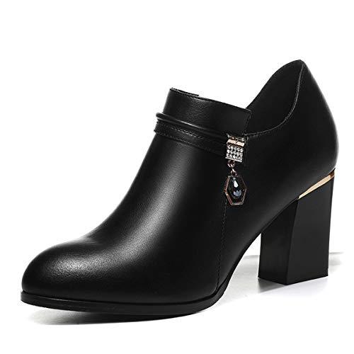 AJUNR Transpirable Mal Calzado Tacones Altos Estilo Ingles Cabeza Redonda Damas Zapatos black