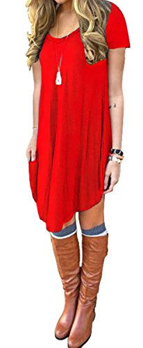 Women\'s Short Sleeve Casual Loose T-Shirt Dress Red S