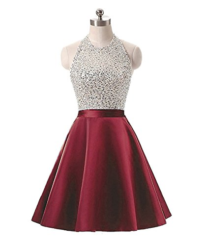 Beaded Short Dress Halter Dress (Meilishuo Women's Sparkly Beading Homecoming Dresses Halter Neck Sequined Prom Ball Gown Short 2017)