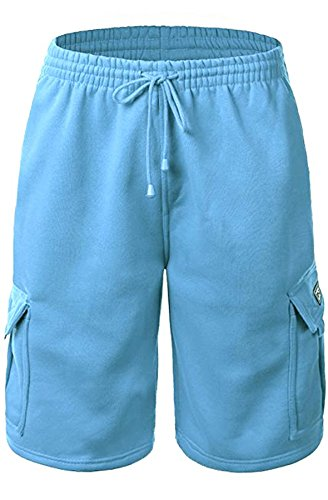 Sky Blue Shorts - Urban Icon Men's Fleece Cargo Shorts Dream USA, Medium, Sky Blue