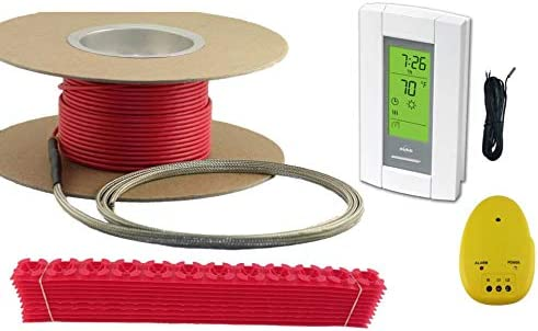 100 sqft cable set, electric radiant floor heat heating system with aube  digital floor sensing thermostat - programmable household thermostats -  amazon com