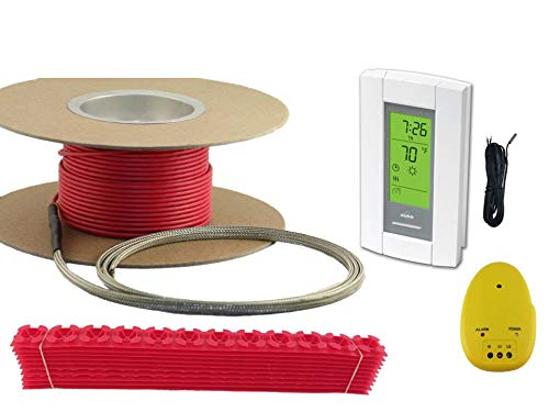 25 Sqft Cable, Warming Systems 120 V Electric Tile Radiant Floor Heating Cable with Programmable Thermostat