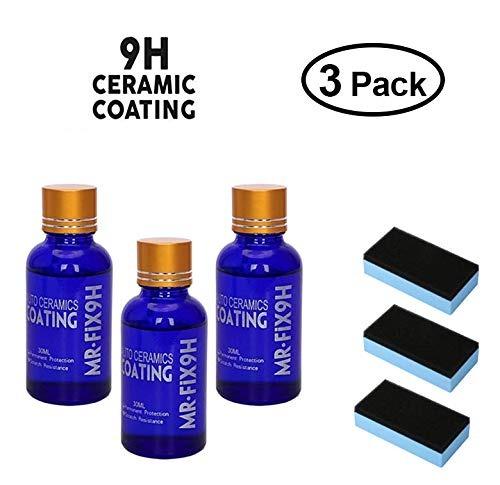 Mercu 9H Hardness AUTO Ceramics Coat KIT, Nano Car Liquid Ceramic Coating kit Super Hydrophobic Glass Coating Polish-30ML (3 Pieces)