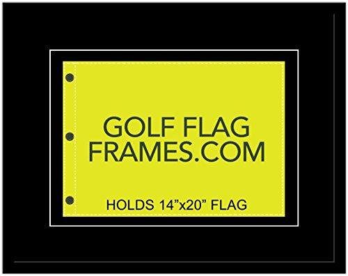 Golf Flag Frames 21x27 Black, moulding blk-005 Shadowbox, Black Mats (float mount; fits 14x20 US Open, Ryder Cup, PGA Golf Flags; flag not included)