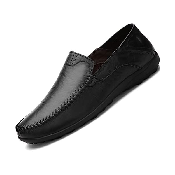 a4ab7ce46b7 Go Tour Men s Premium Genuine Leather Casual Slip on Loafers Breathable  Driving Shoes Fashion Slipper
