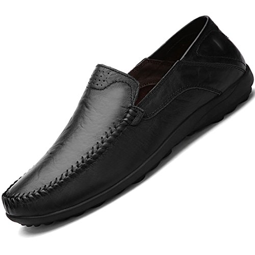 Casual Professional Shoes - Go Tour Men's Premium Genuine Leather Casual Slip On Loafers Breathable Driving Shoes Fashion Slipper Black 13/50