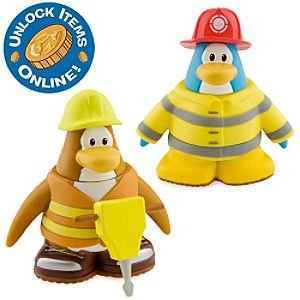 Disney Club Penguin Series 6 Mix 'N Match Mini Figure Pack Firefighter & Construction Worker Includes Coin with Code! (Best Club Penguin Codes)