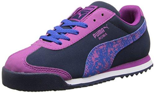 Puma Roma de la salpicadura de la zapatilla de deporte clásica Peacoat/Vivid Viola/Strong Blue