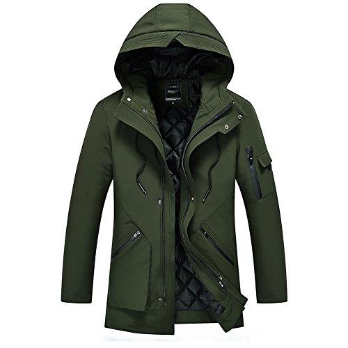 YFFUSHI 中綿ジャケット メンズ S-4XL ロング丈 フード付き 全3色 無地 厚手 中綿コート カジュアル 防寒 上品 ファッション 大きいサイズ きれいめ