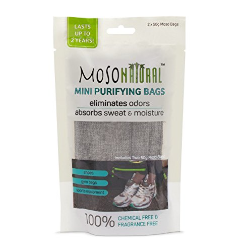 Moso Natural 4 Pack Mini Air Purifying Bags Shoe Deodorizer, Odor Absorber and Eliminator for Shoes, Gym Bags and Sports Gear Charcoal Color