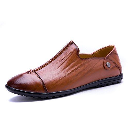 zmlsc Printemps Hommes Chaussures en Cuir Chaussures Décontractées Pois Chaussures Sauvage Été Redbrown KFXTW4