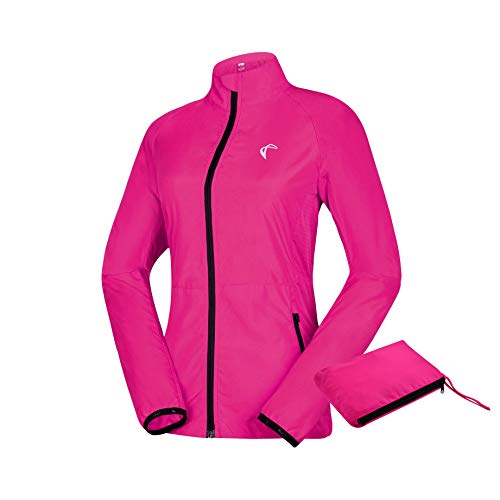 (J. Carp Womenâs Packable Windbreaker Jacket, Lightweight and Water Resistant, Active Cycling Running Skin Coat, Rose Red XL)