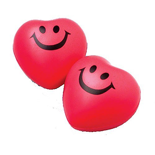 Heart Stress Balls - Lot Of 12 Red Smile Heart
