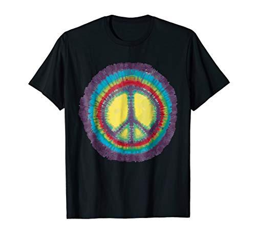 Tie Dye Peace Symbol Tee Shirt - Rainbow Hippy Tshirt (Hang Ten Peace Sign)