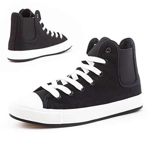 Damen High Top Turnschuhe Sneaker Textil Canvas Schuhe mit Gummizug Schwarz