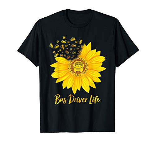 Bus Driver Life Hippie Sunflower Tshirt Bus Driver Gifts
