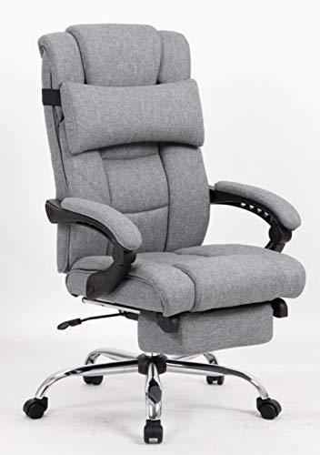KADIRYA High Back Reclining Office Chair, Fabric Ergonomic Executive Chair with Footrest, Headrest Lumbar Support Pillow, Recline Multi Tilt, Adjustable Height, 250 lbs, ()