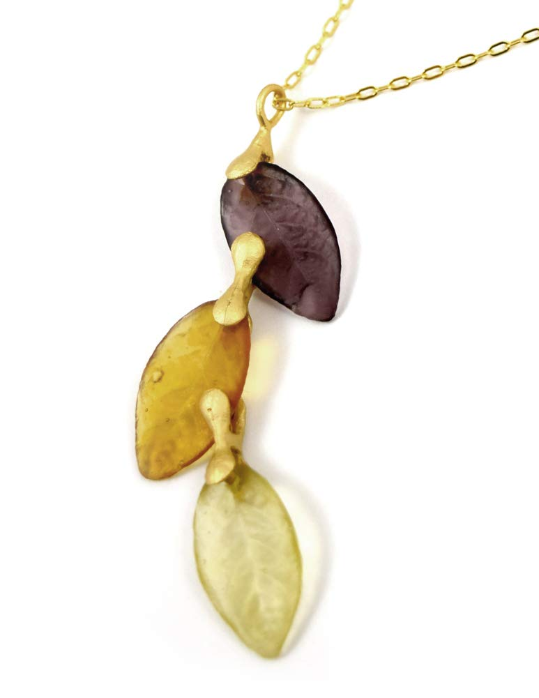 Michael Vincent Michaud American Handmade Cast Artisan Glass & Gold-Plated Autumn Leaves Necklace by Michael Vincent Michaud