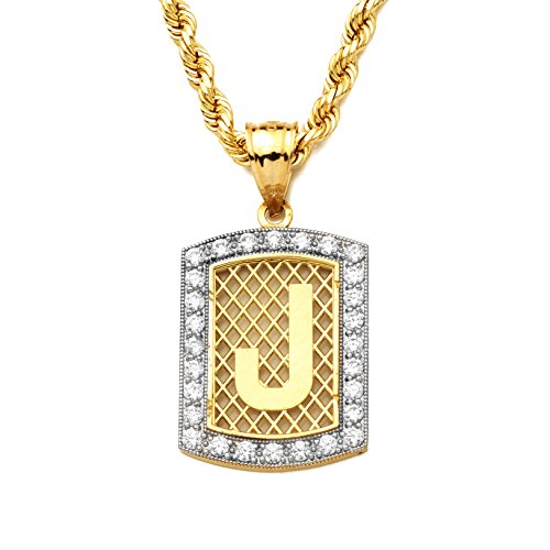 MR. BLING 10K Yellow Gold Dog Tag Initials Charm Pendant w/CZ Border (Available from A-Z) (J)