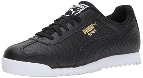 (PUMA Men's Roma Classic Perf Sneaker,Puma Black-Puma Black-Puma White-Puma Team Gold,9.5 M US)