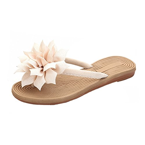 PU Leather Rubber Sole Flip-Flops Non-Slip Slippers Beach Sandals for Women (US 4, Beige) - Leather Rubber Sole Flip Flops