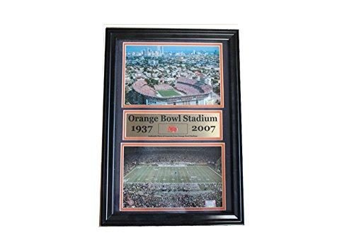 Encore NCAA University of Miami 12x18 Framed Orange Bowl Stadium Print and Piece of Stadium